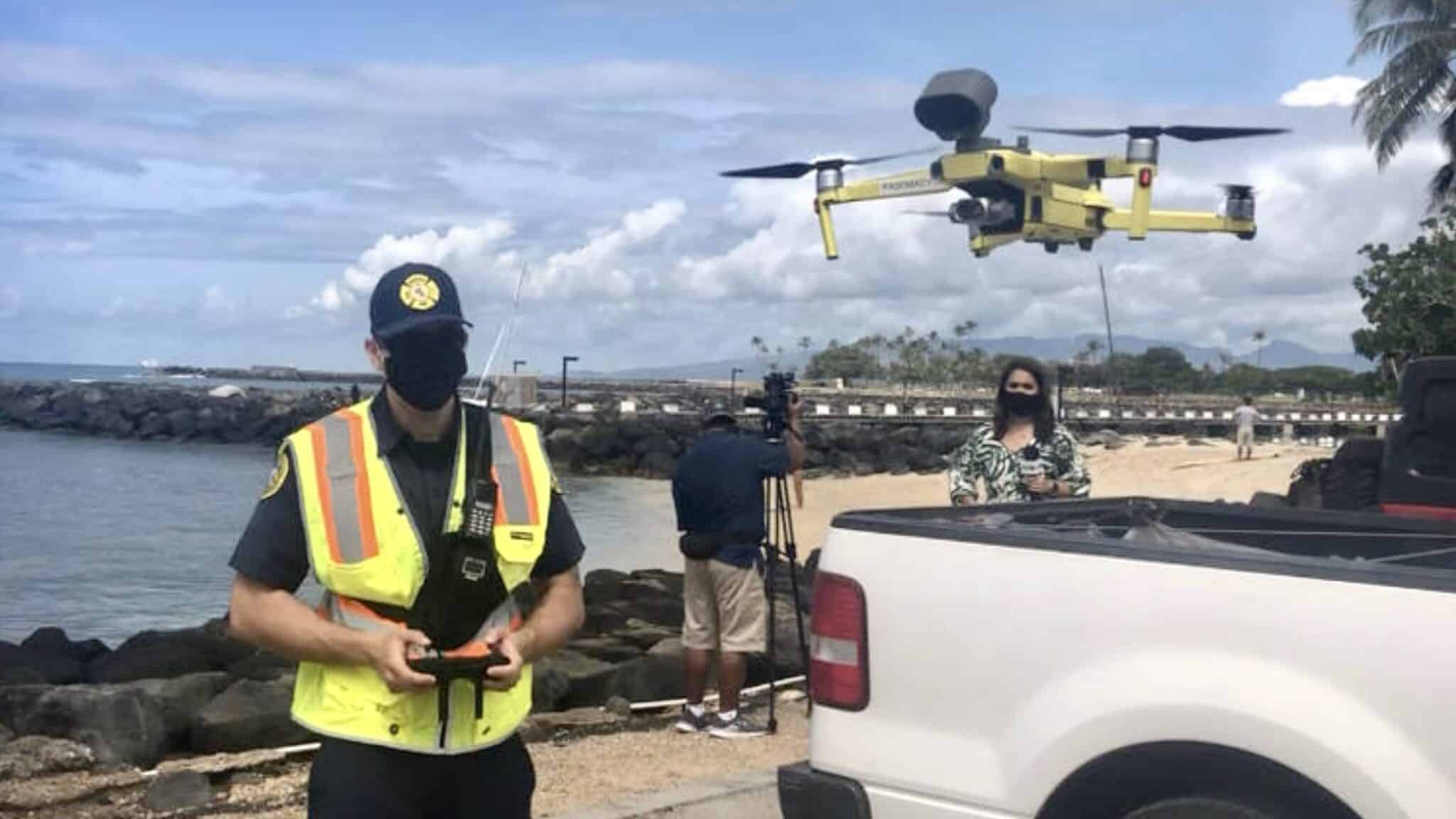 Honolulu Fire Department uses drones to enforce stay-at-home order at beaches