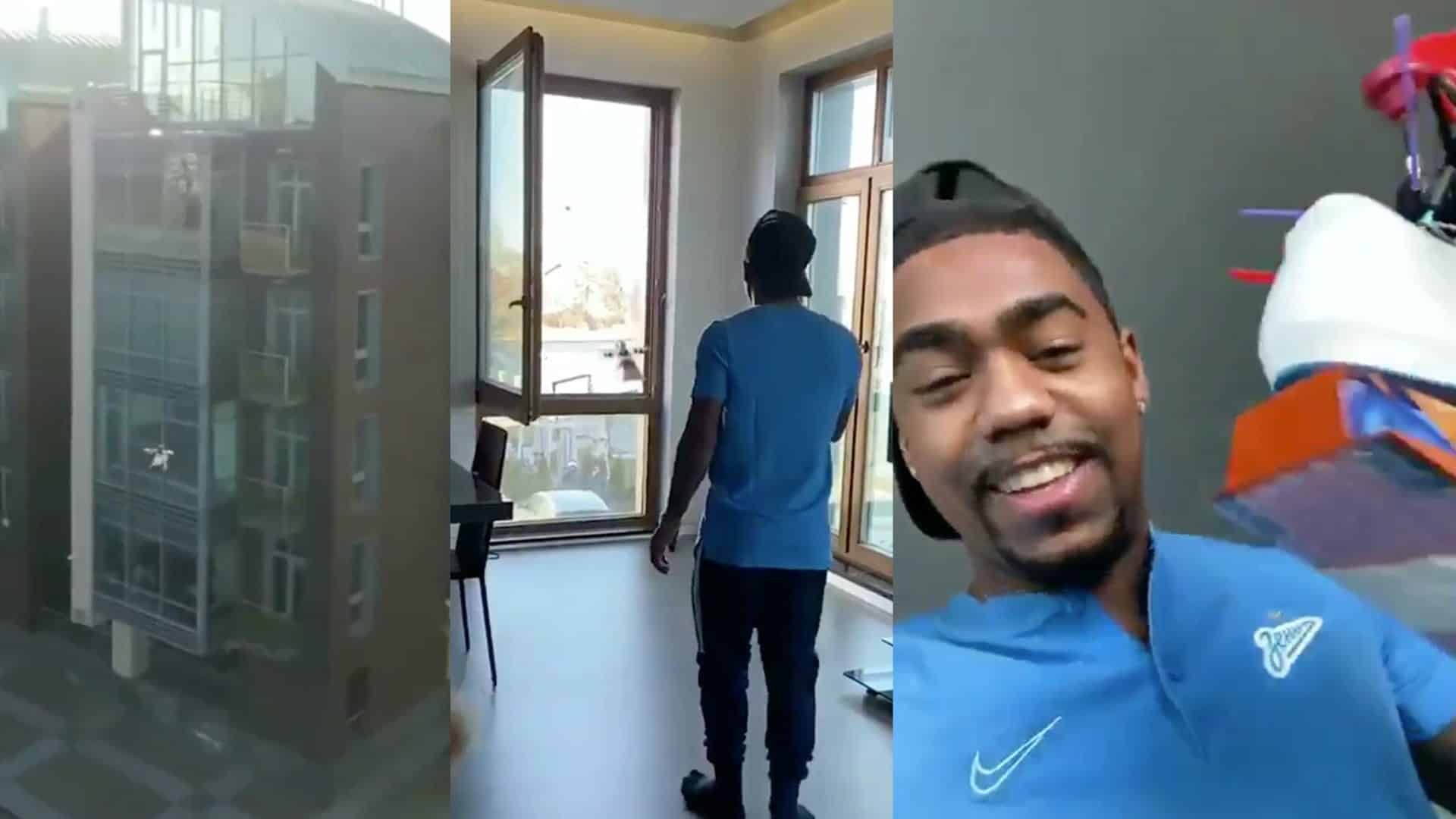 Brazilian Malcom receives Soccer Player of the Month award by drone