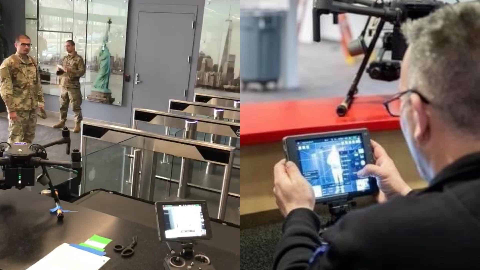 DJI Matrice 210 checks body temperature at hospital in Javits Convention Center in New York