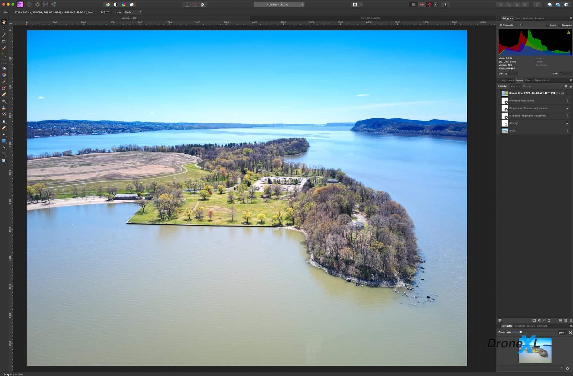 DJI Mavic Air 2 bracketing - 48MP DNG RAW JPG and HDR files to download Affinity Photo