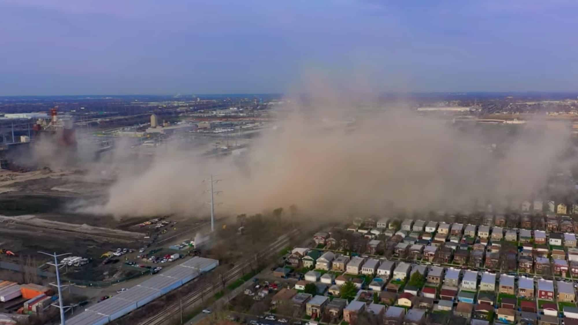 Drone captures dust cloud sweeping over Little Village after smokestack demolition