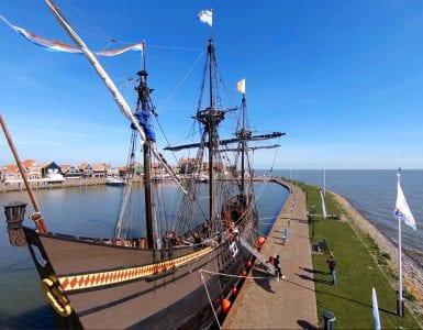 Dutch tourist town Volendam by drone