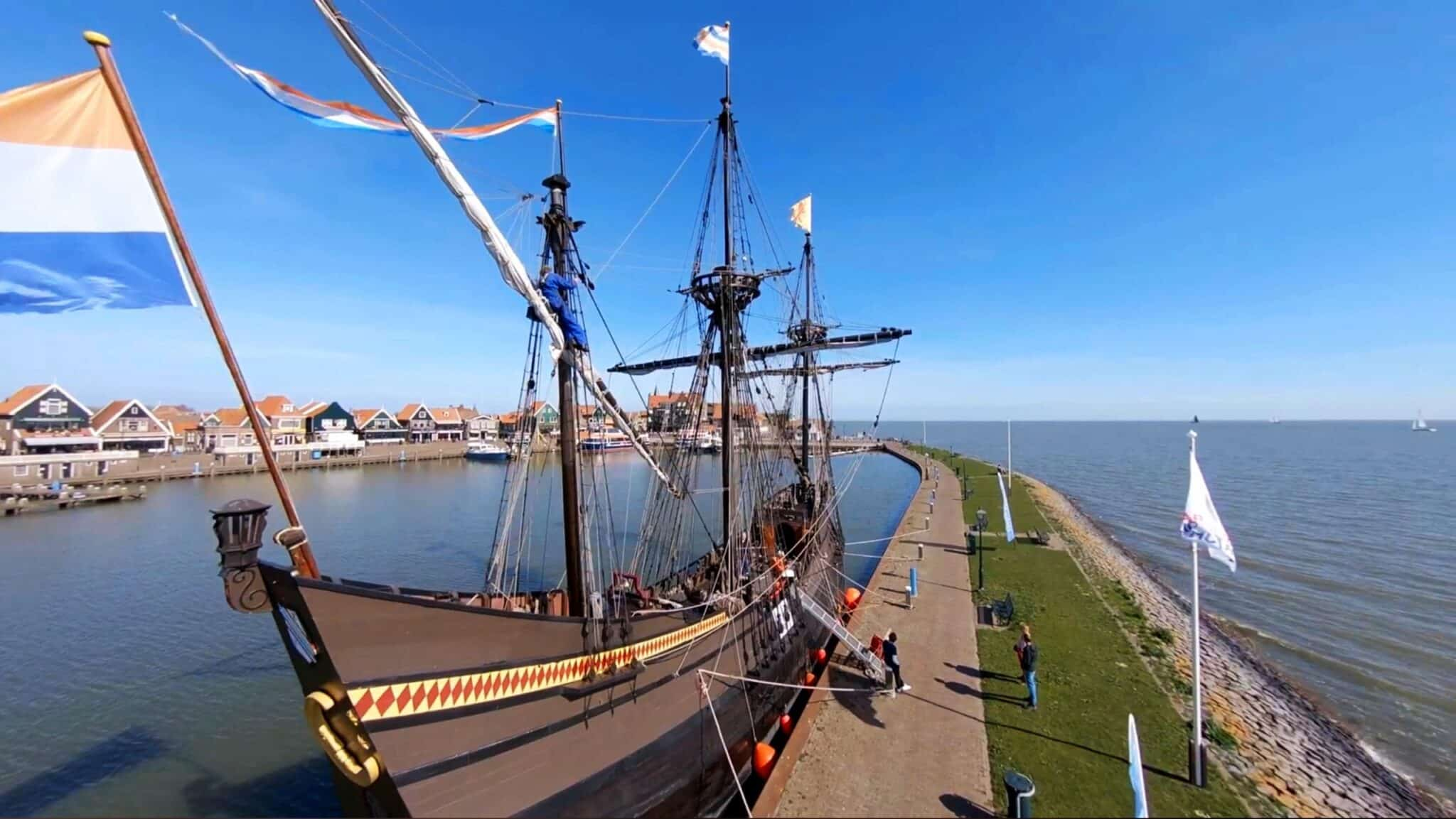 Dutch tourist town Volendam by drone