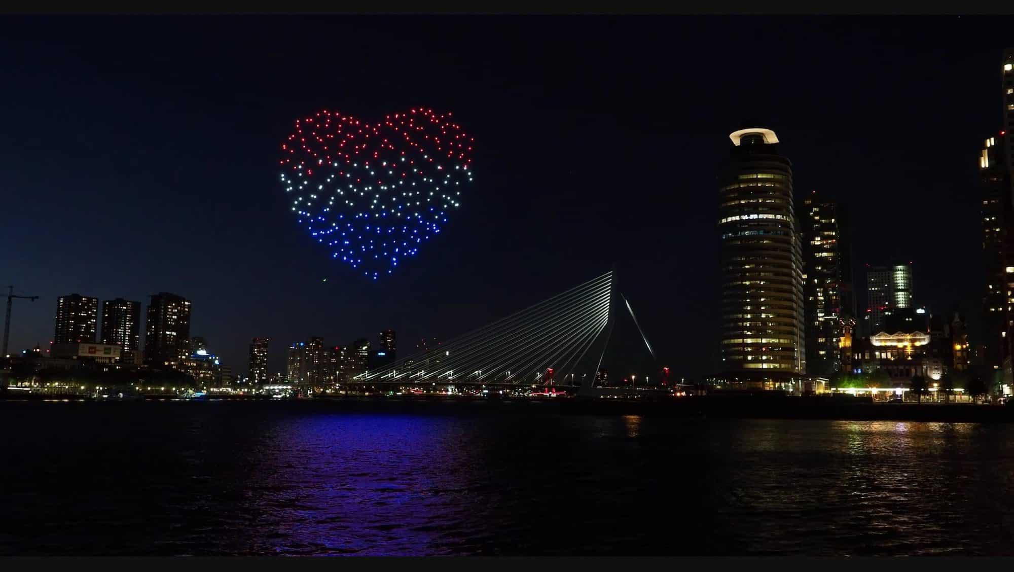 Beating Heart drone show over Rotterdam as a flying tribute to freedom and appreciation