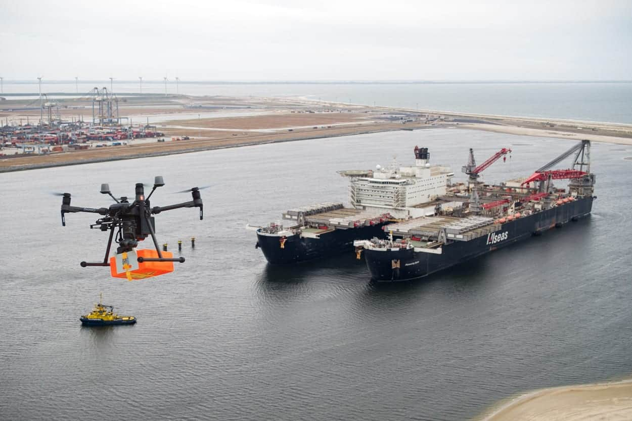 DJI Matrice 210 delivers package to world's largest ship 'Pioneering Spirit'