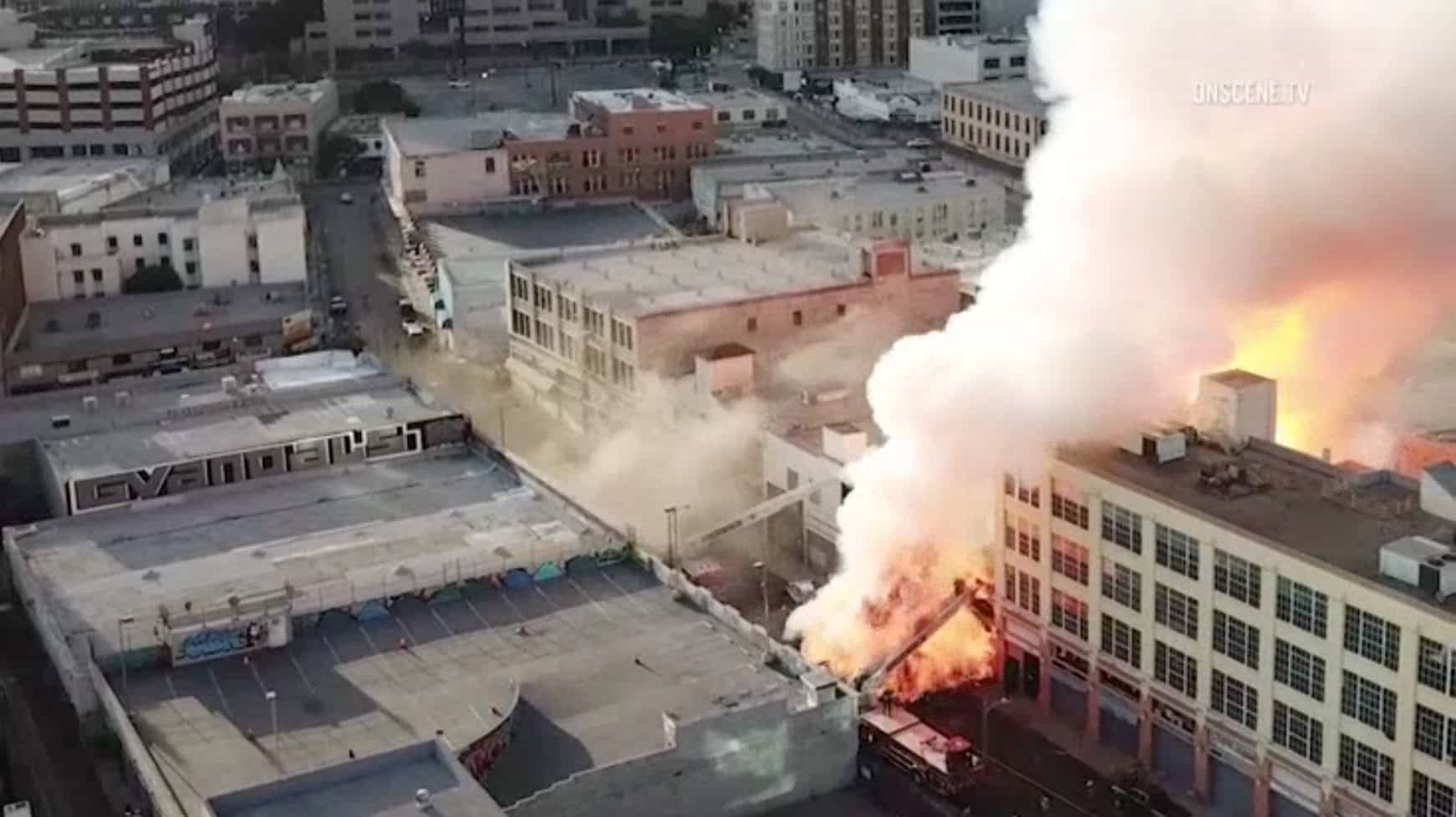 Drone footage shows LA explosion that injured firefighters