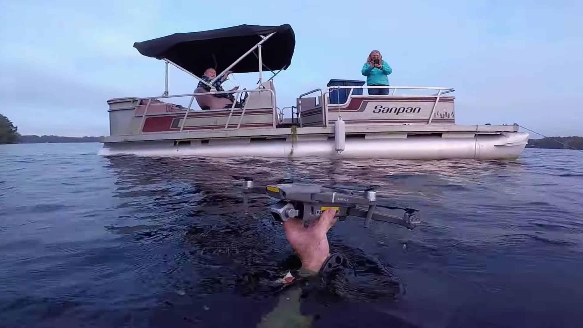 Diver retrieves DJI Mavic Pro 2 from a lake