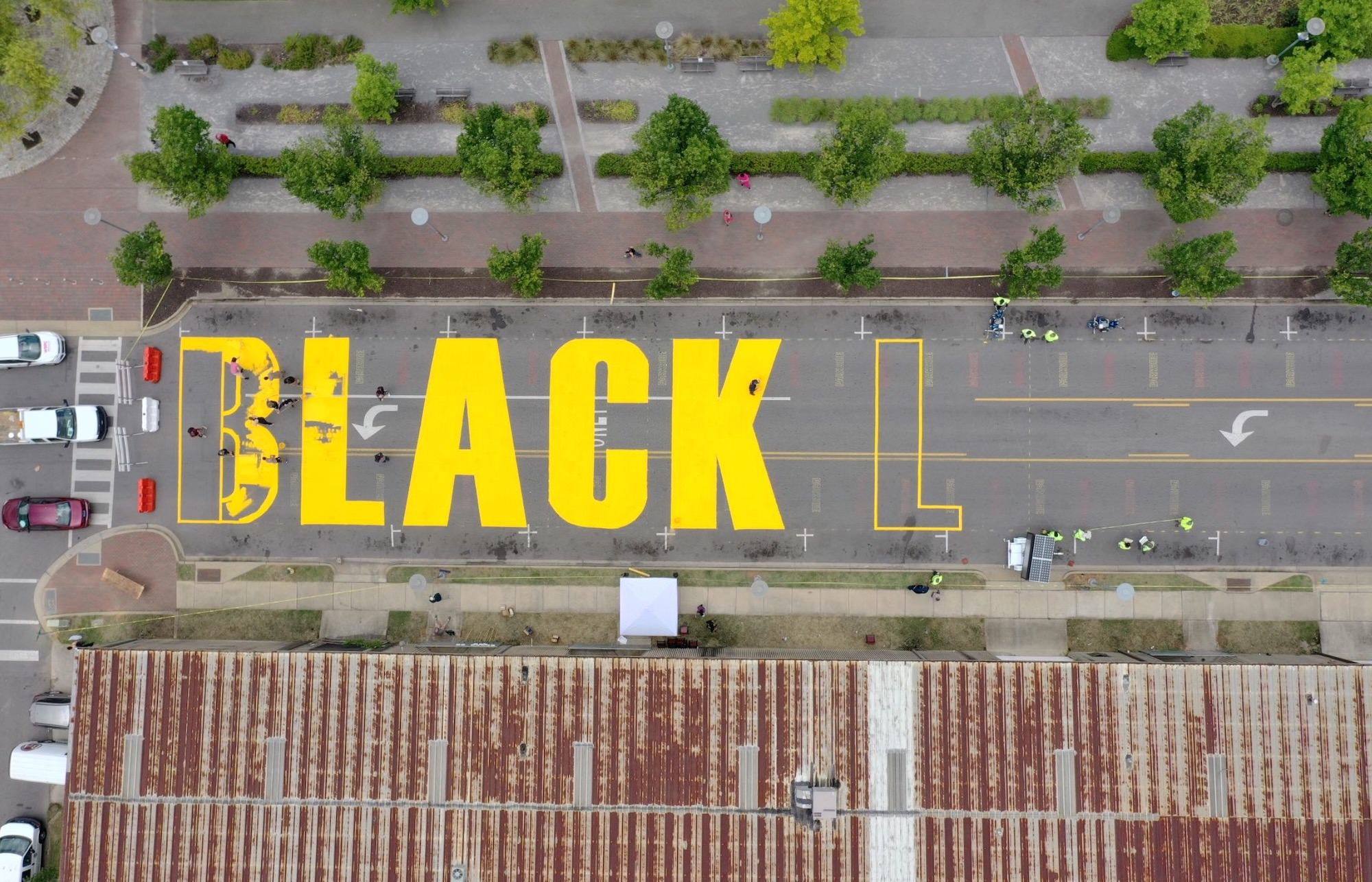 Black Lives Matter mural appears on the streets in Birmingham, Alabama