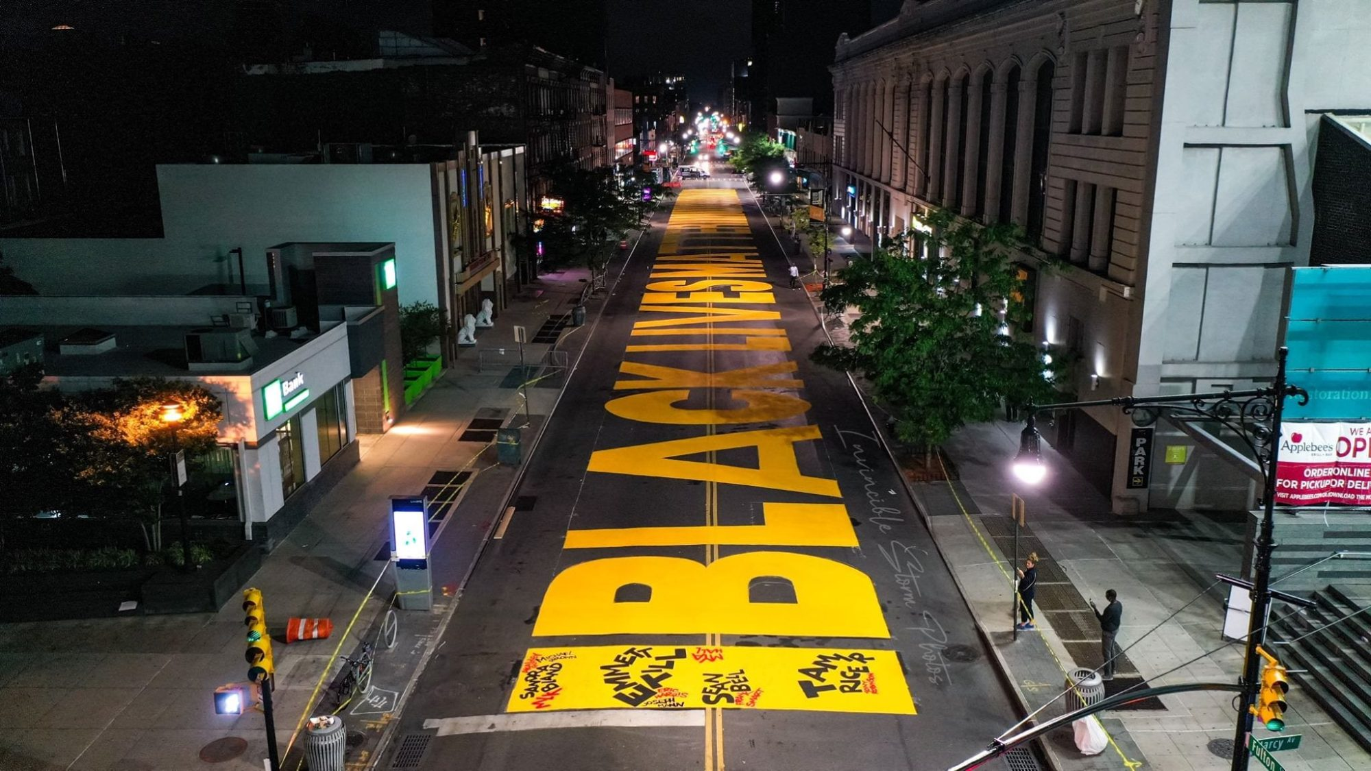 Drone captures 'Black Lives Matter' street art in Brooklyn, New York