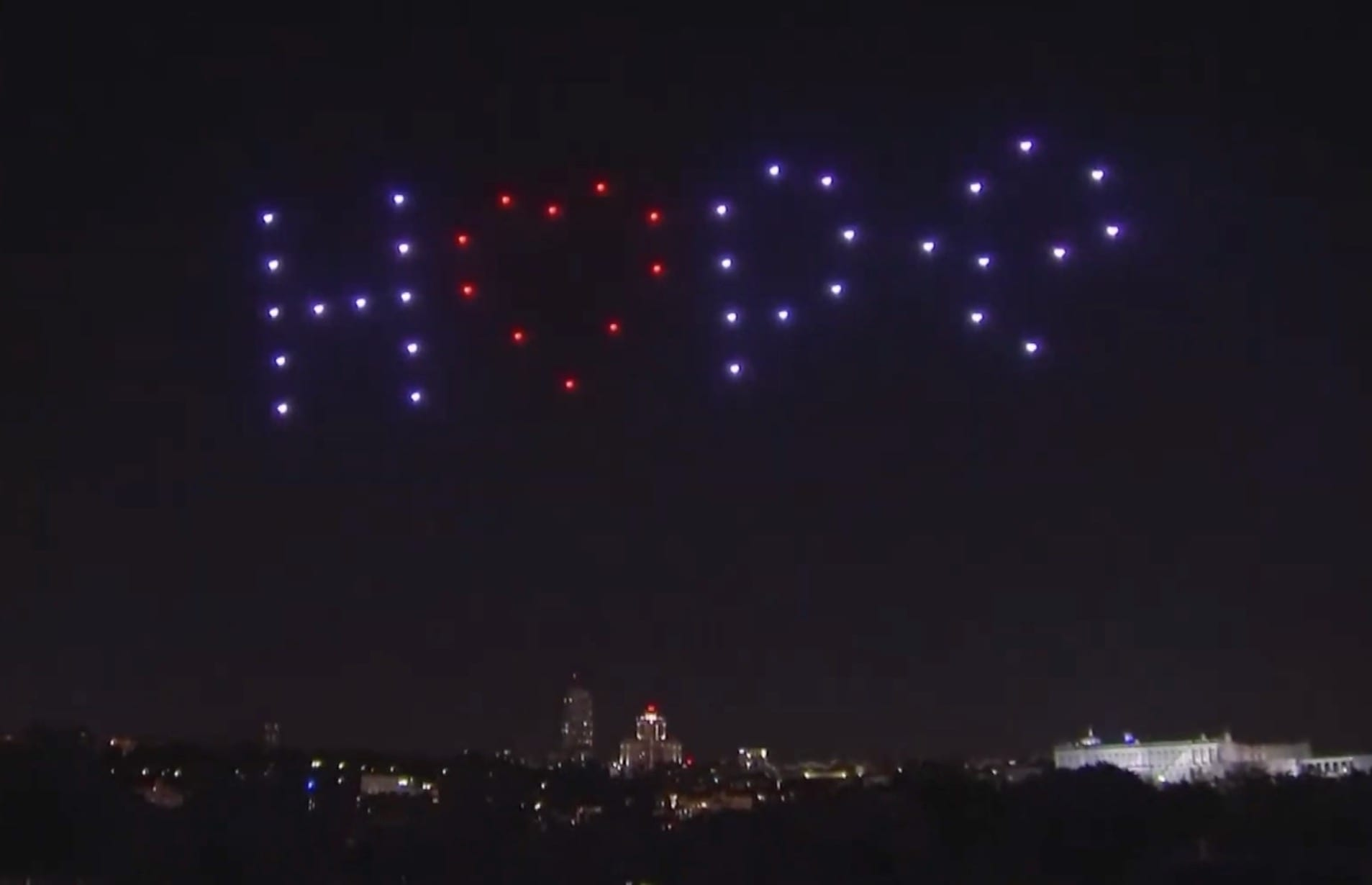 Drone light show over Madrid to pay tribute to coronavirus victims and emergency services