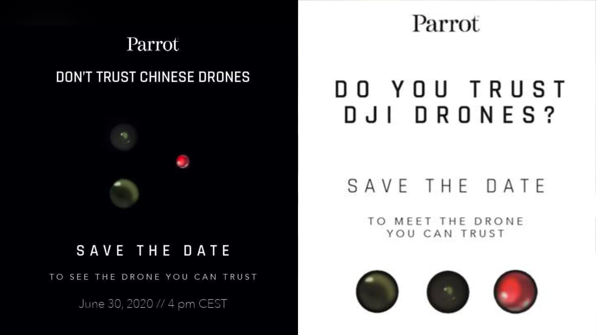 Do you trust Chinese DJI drones Parrot Announcement