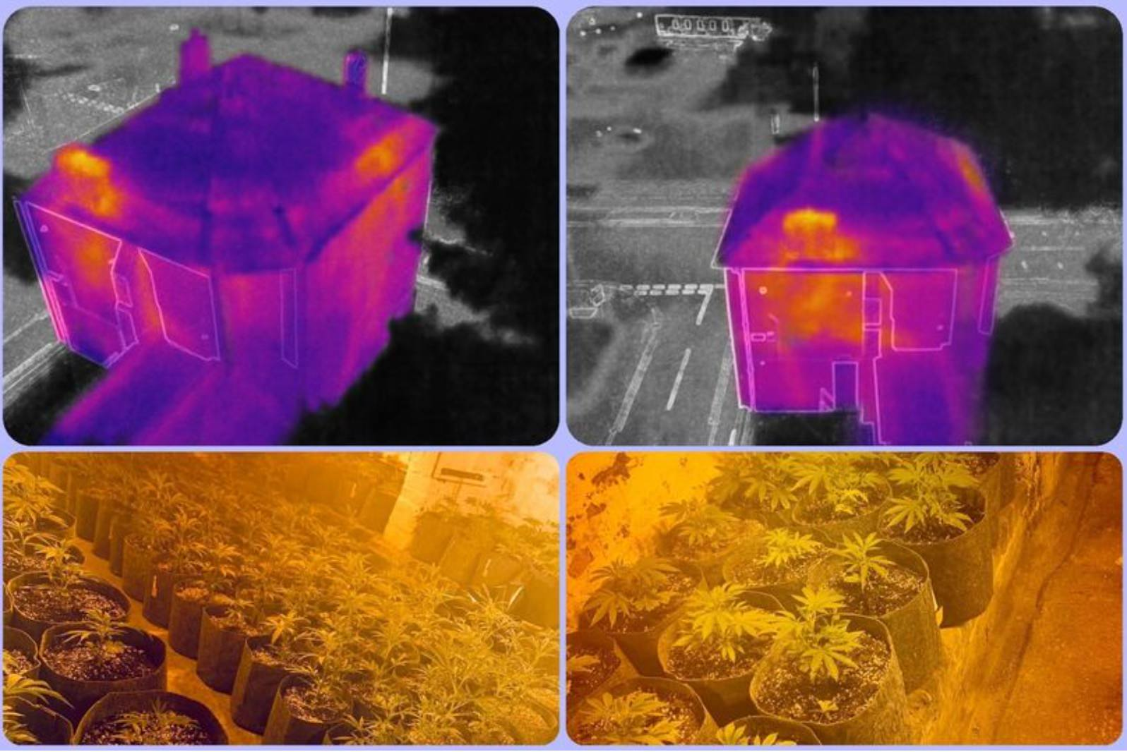 Police drone with thermal camera spots weed plantation above a bar in England