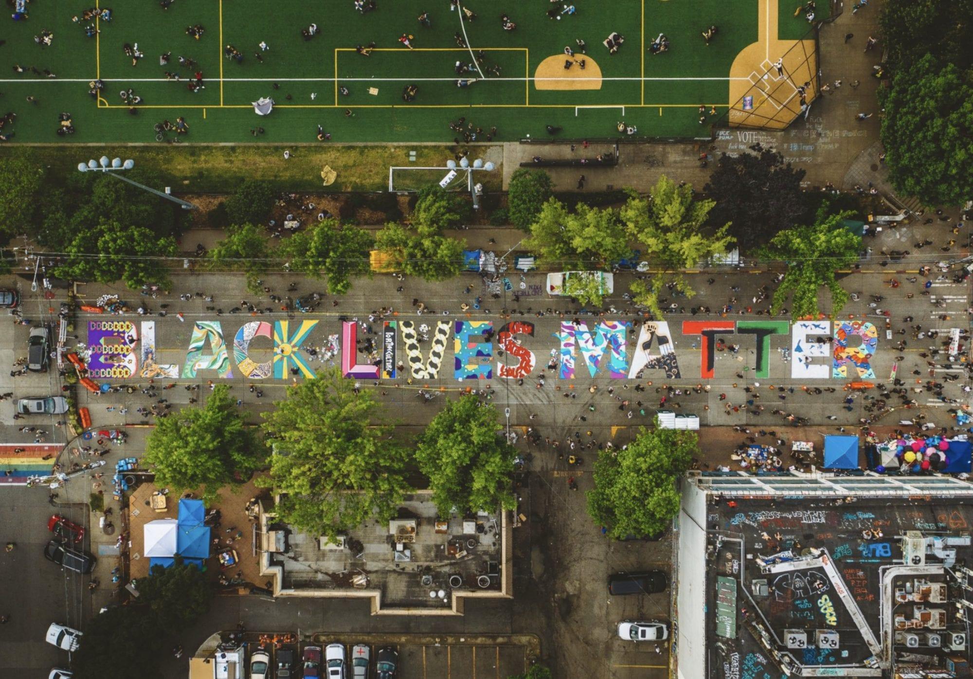 Drone video black lives matter seattle