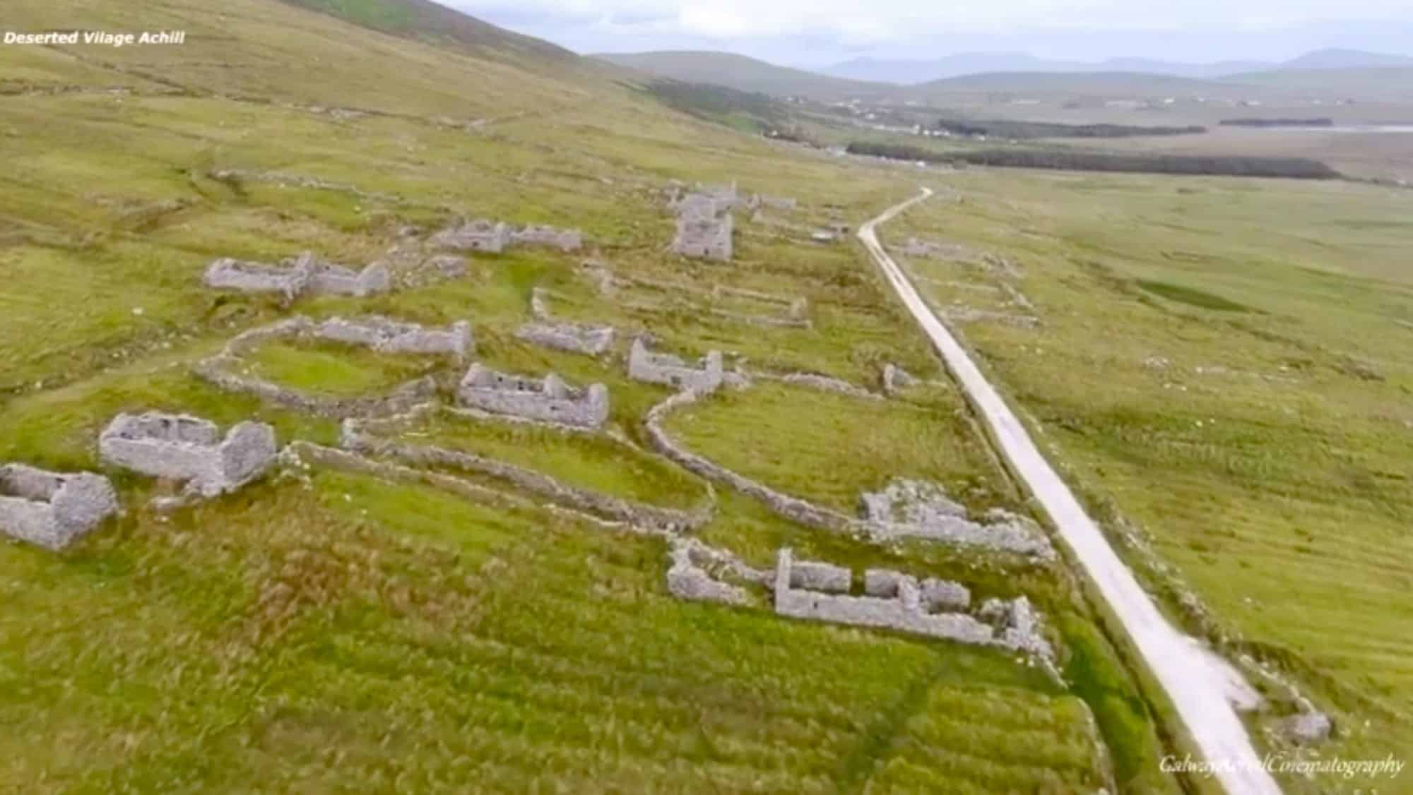 Ancient, deserted Irish village captured by drone