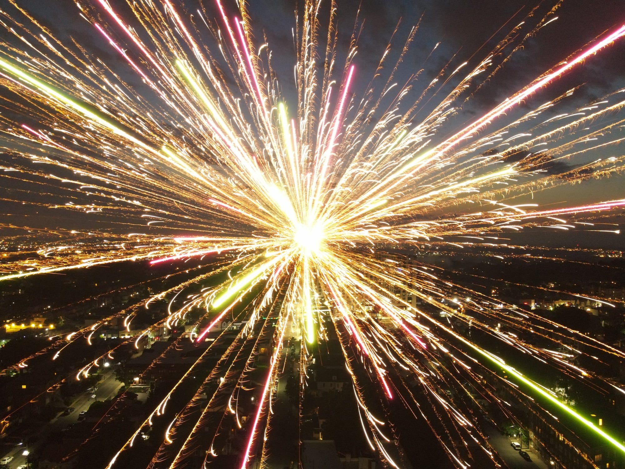 Check out this photo that was posted on social media from a drone that gets real close to the 4th of July fireworks.jpeg