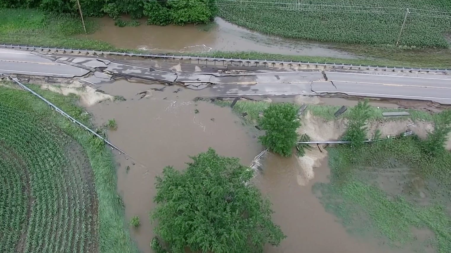 Drone footage shows extent flood damage in St. Croix County, Wisconsin