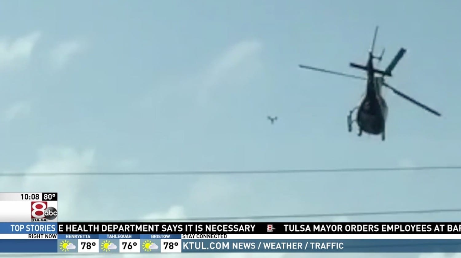 Near-collision between drone and police helicopter in Tulsa, OK