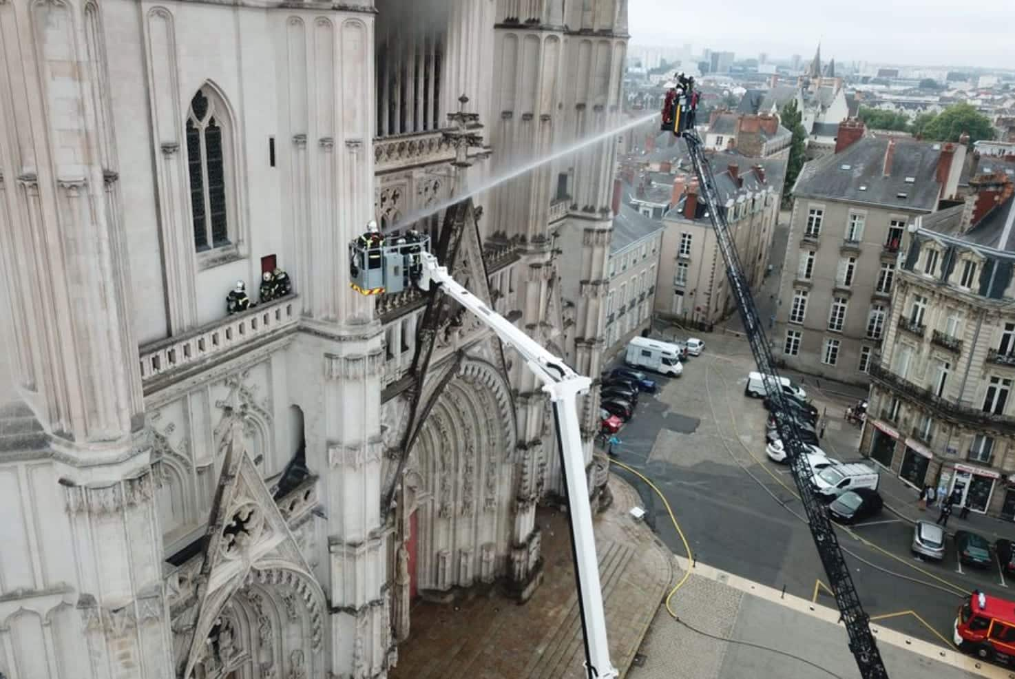 Nantes cathedral fire seen through firefighter's drone