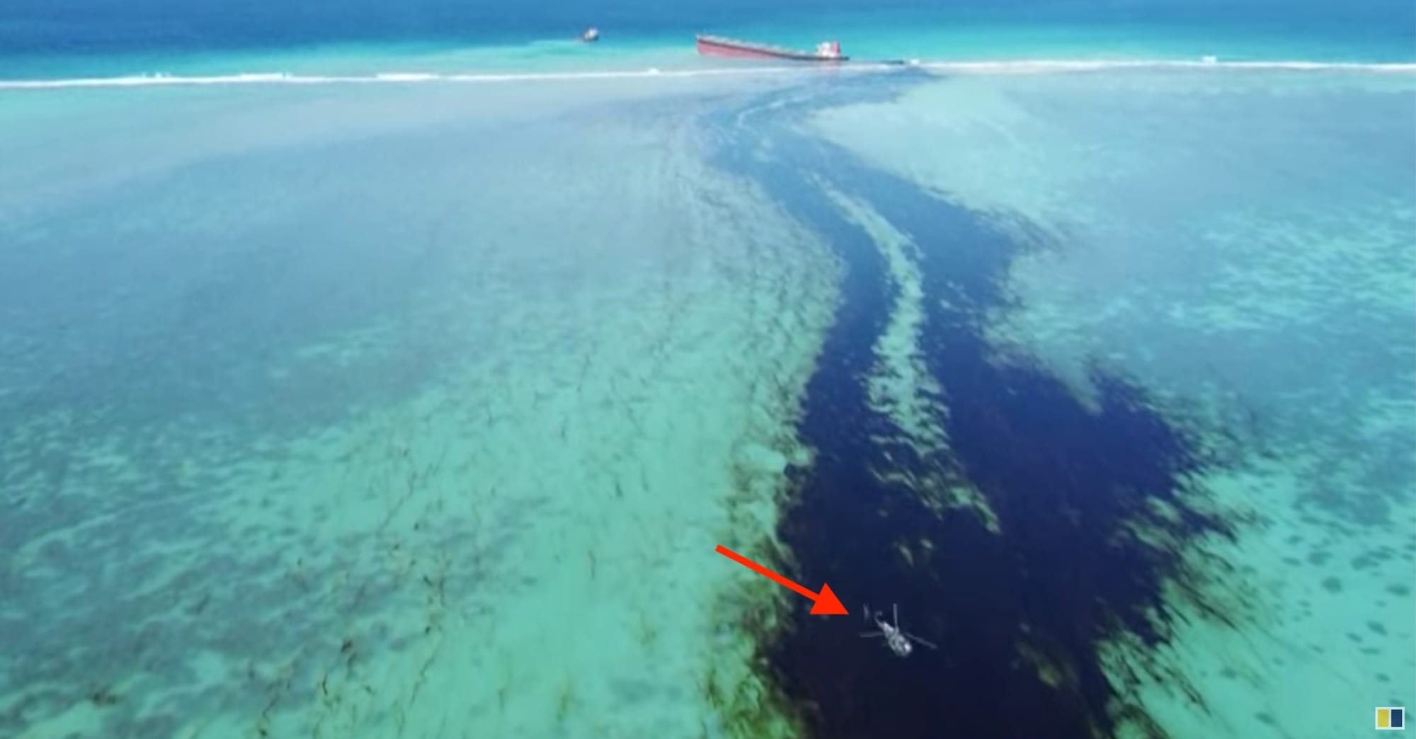 Disastrous oil spill in Mauritius shown in drone footage