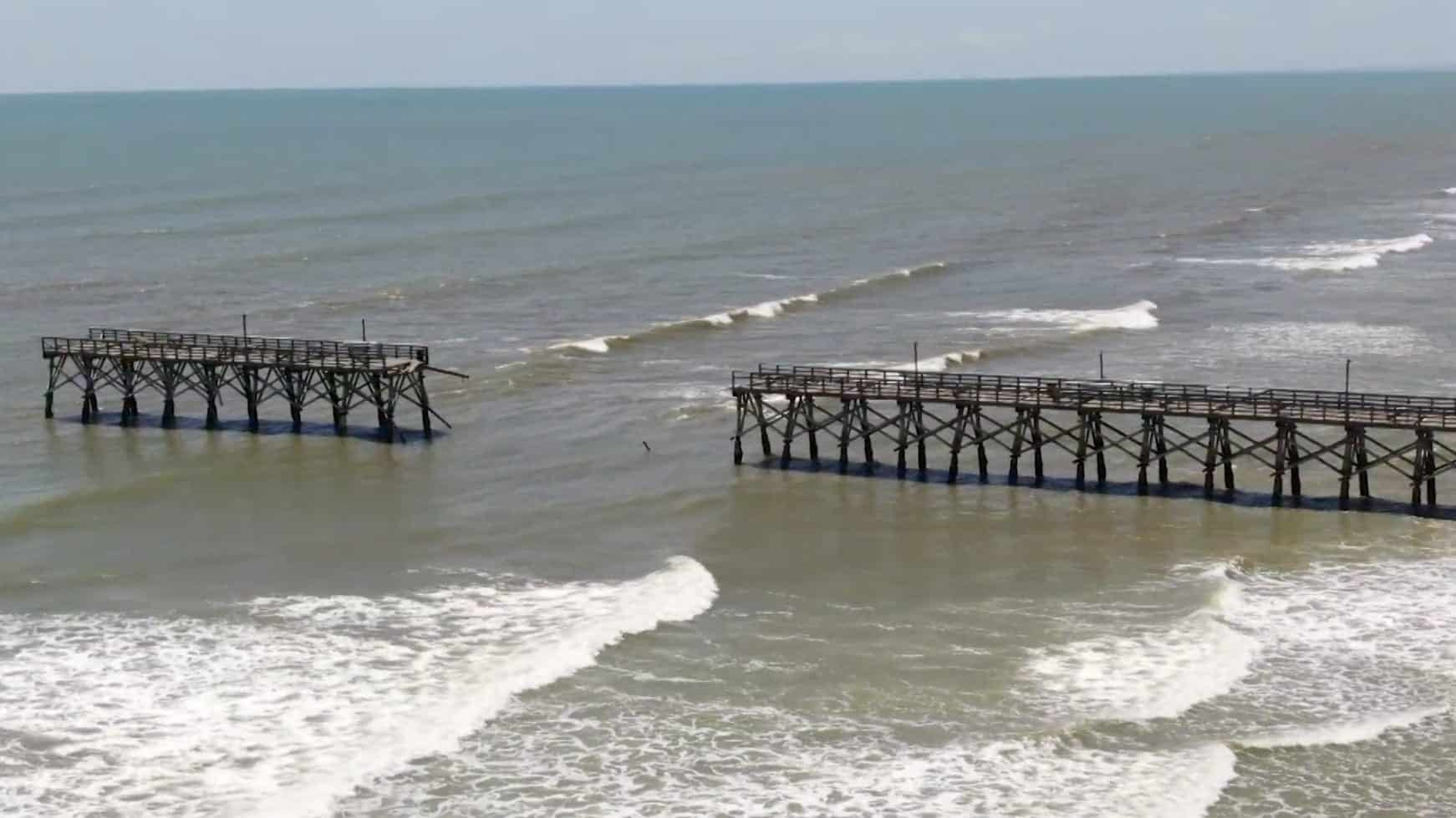Drone video shows damaged Sea Cabin Pier in Cherry Grove
