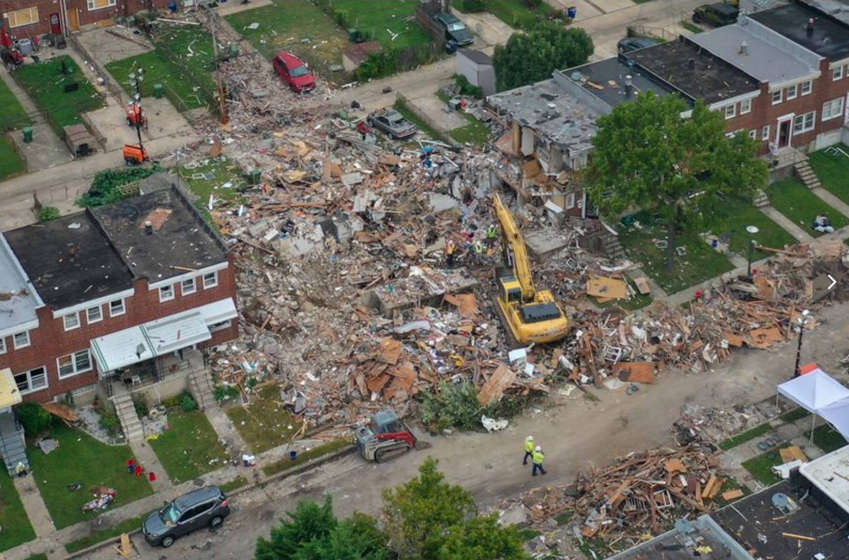 Fire department drone monitors scene of gas explosion in Baltimore