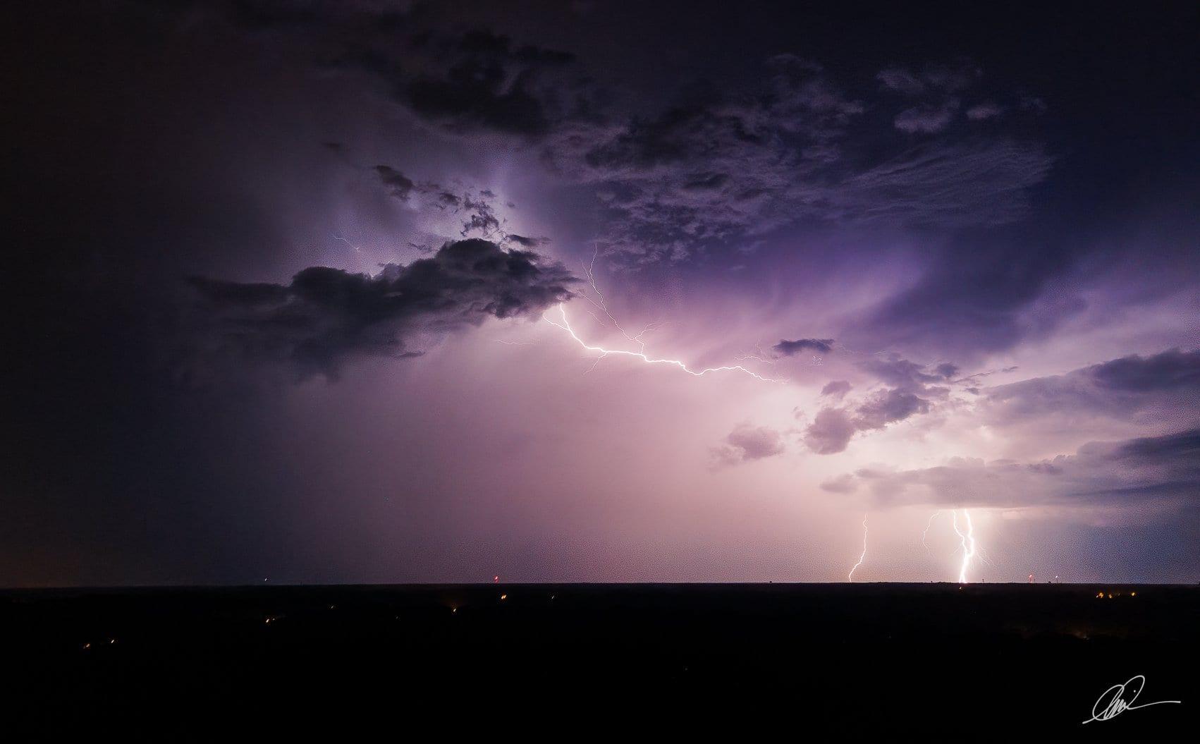 Mavic Air 2 captures lightning in long exposure aerial photos