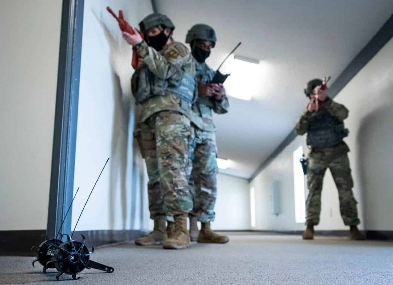 Football-sized drone, Throwbot used by U.S. Air Force for base security
