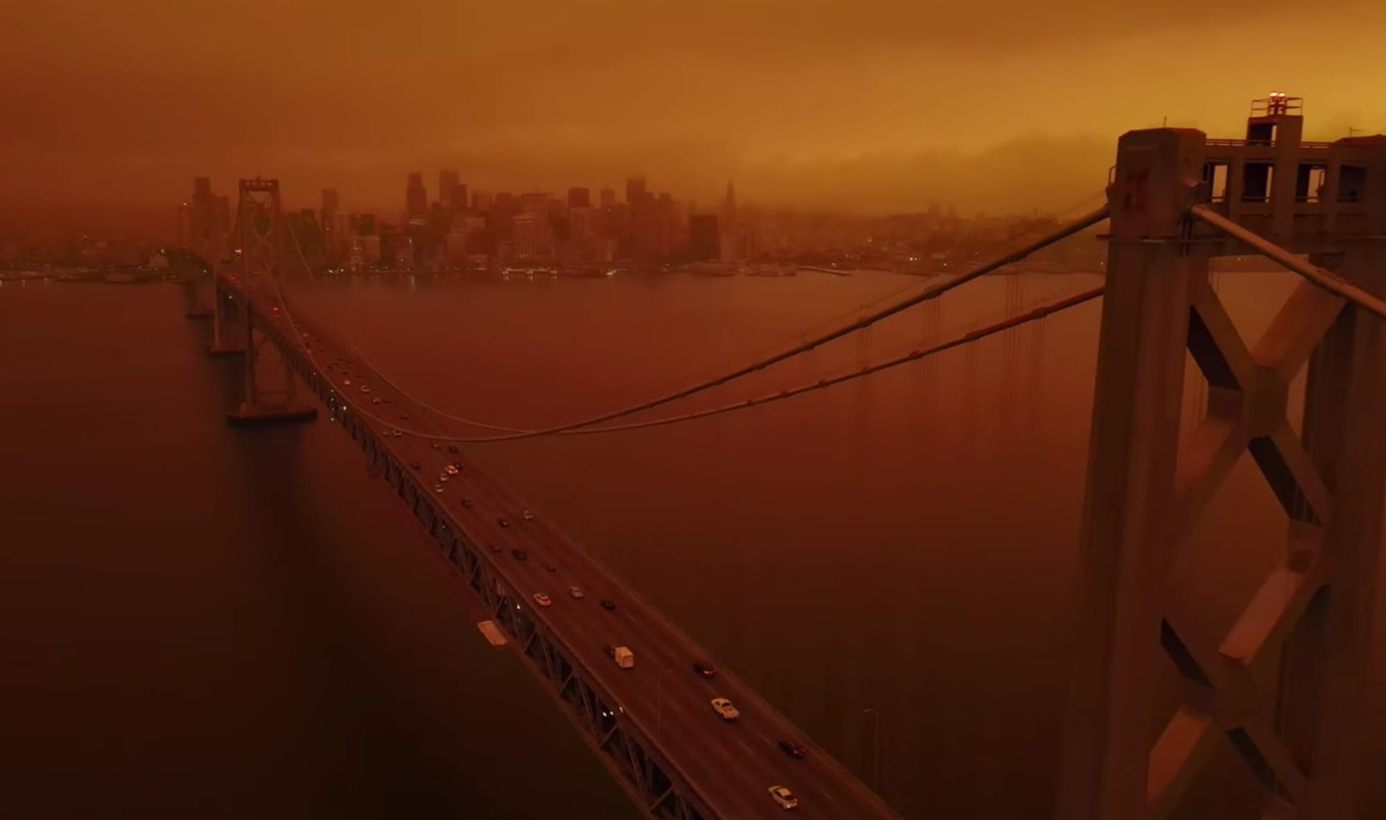 Drone footage shows orange skies over San Francisco and Bay Area
