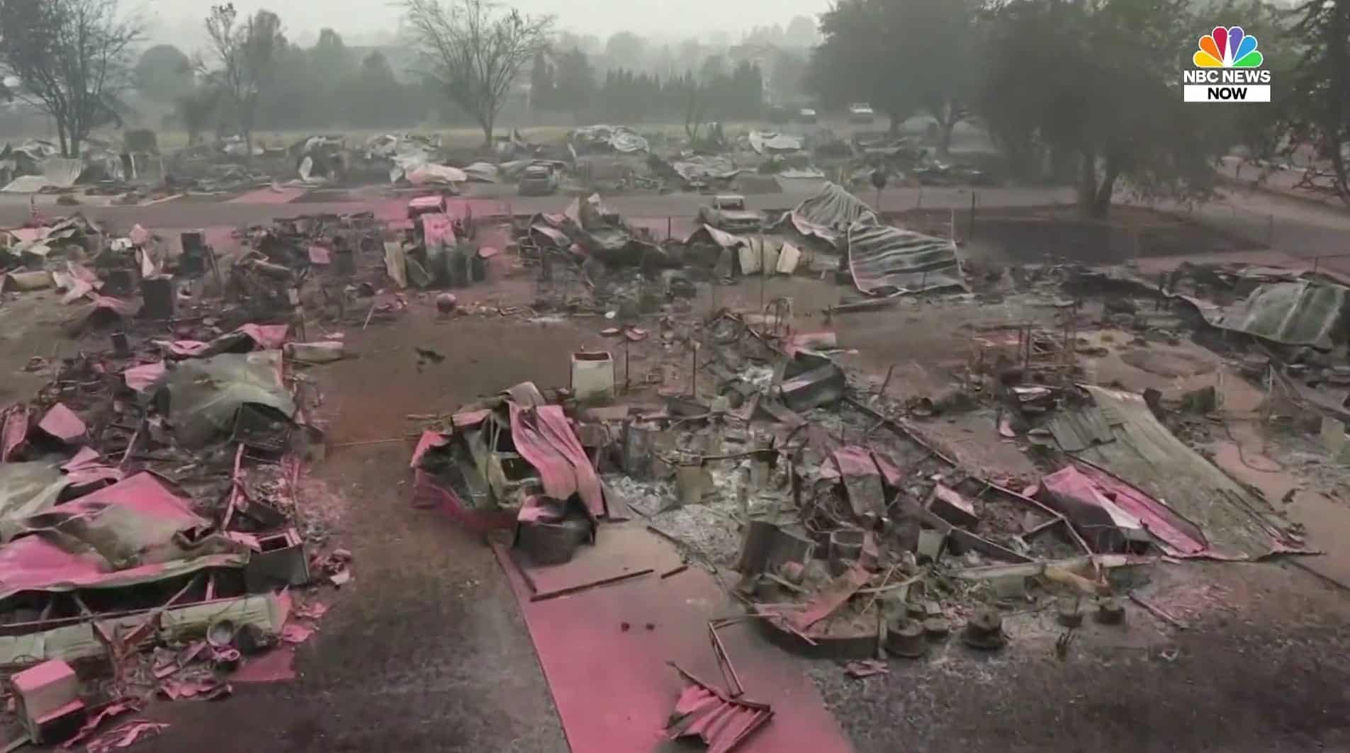 Drone footage shows wildfire-scorched neighborhoods in Oregon