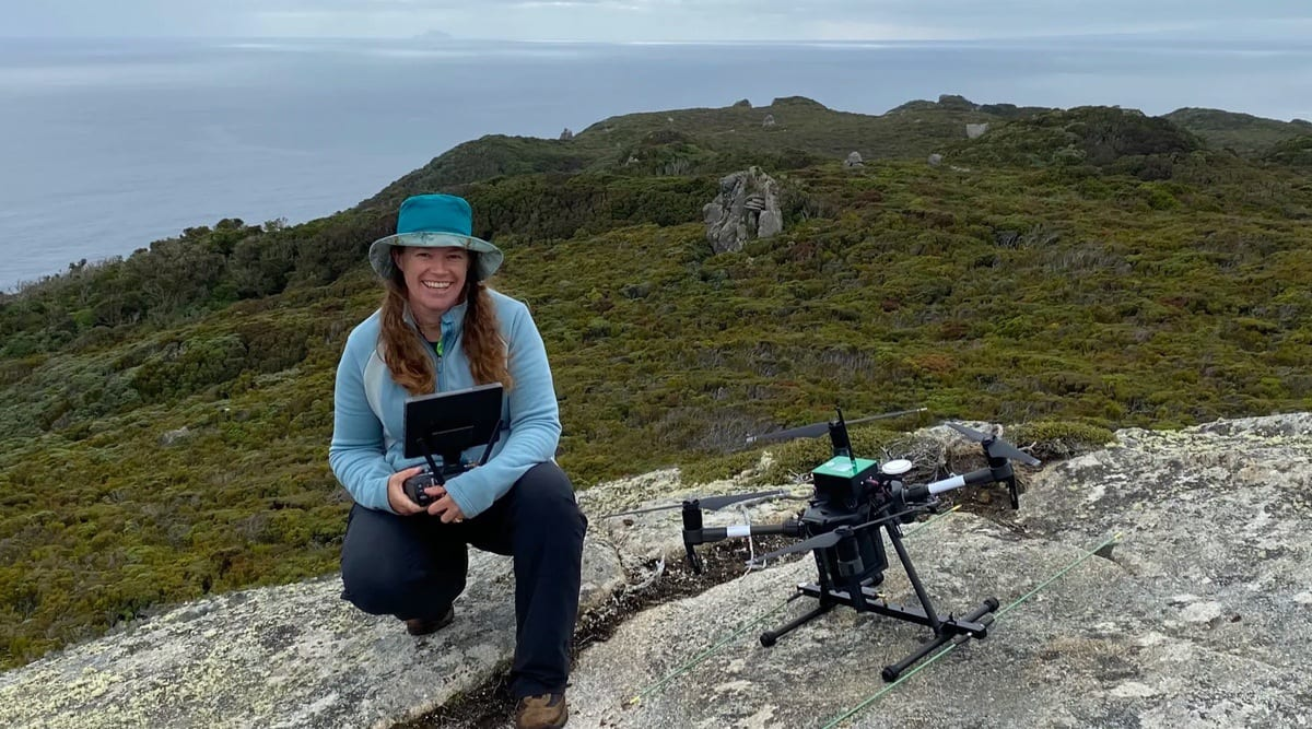 Dr. Debbie Saunders uses an Australian-made wildlife tracking drone that allows researchers to track endangered animals, such as Pangolins, swift parrots, honeyeaters, orange-bellied parrots, banded hare wallabies, and koalas.