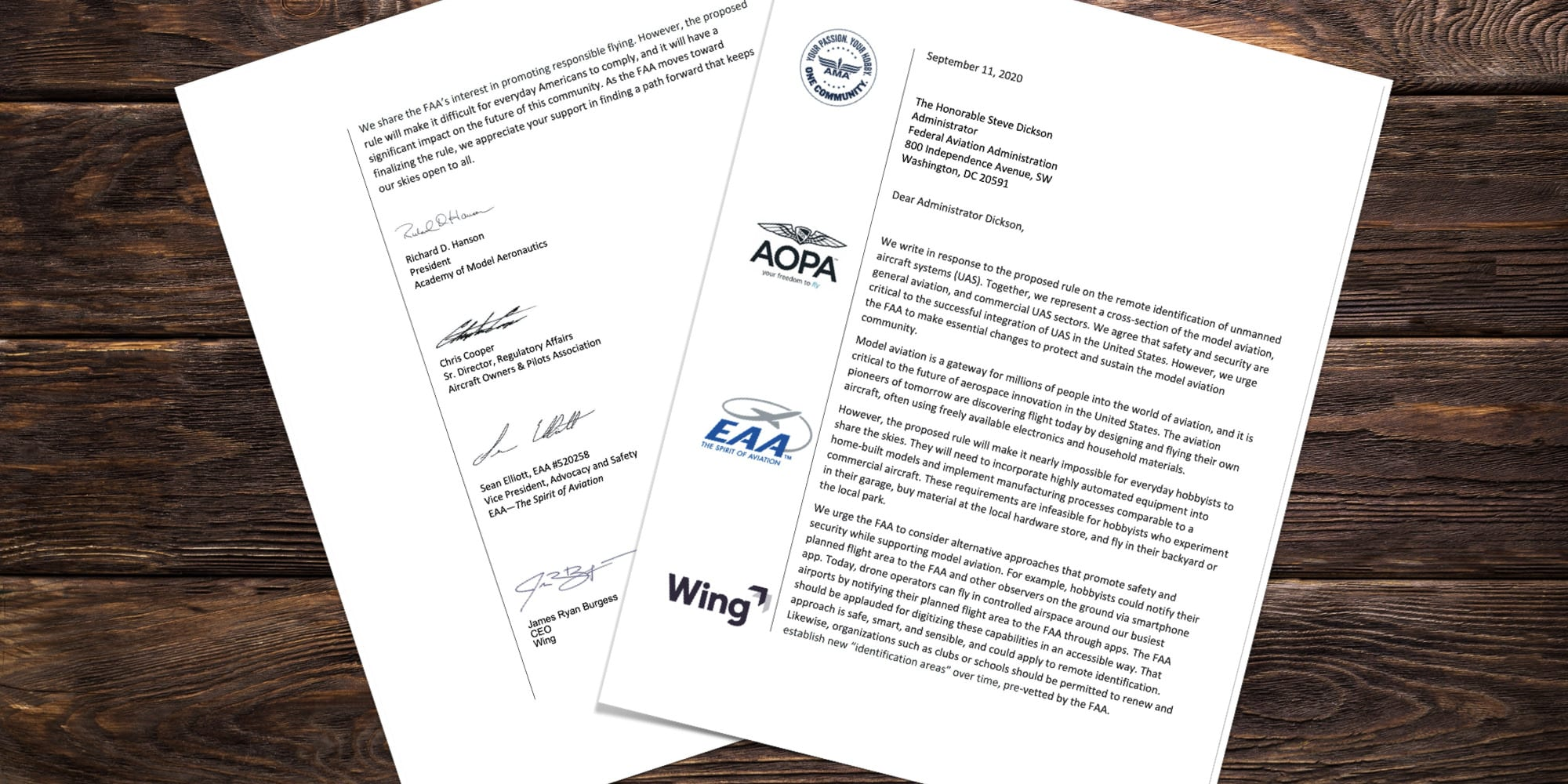 AMA, AOPA, EAA, and Wing send letter to FAA to change Remote ID