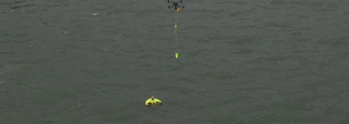 DJI Matrice 300 locates swimmer and drops flotation device during test