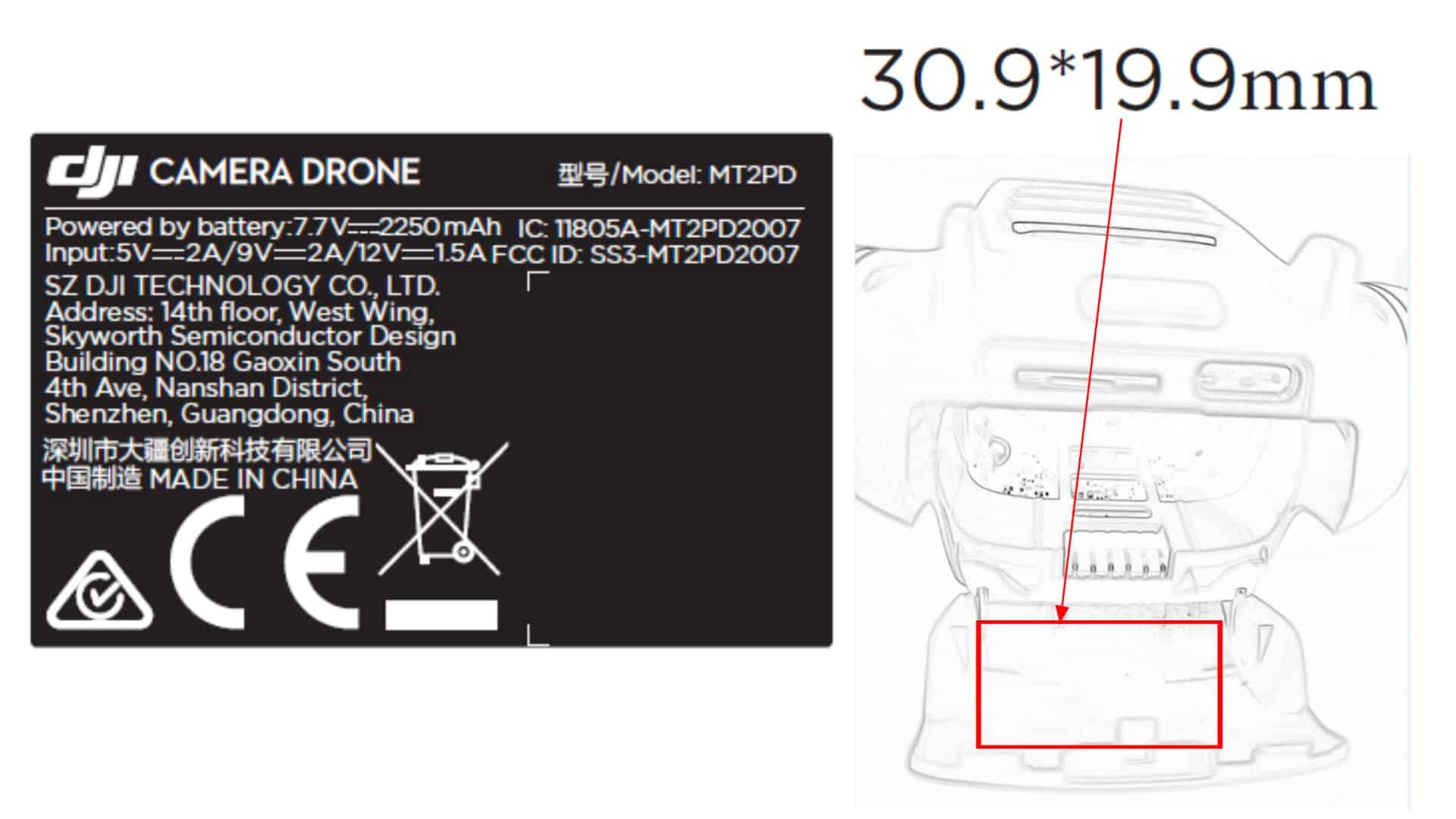 DJI Mavic Mini 2 FCC Label Battery information