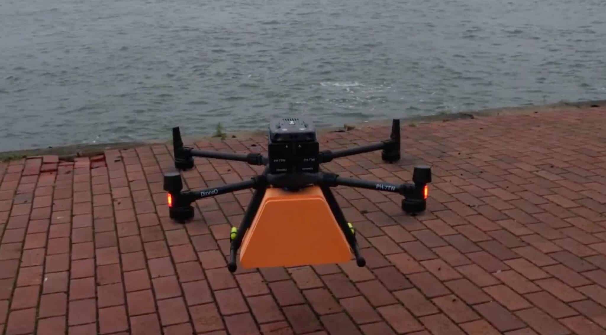 Dutch Drone Delta delivers package to moving vessel in port of Rotterdam
