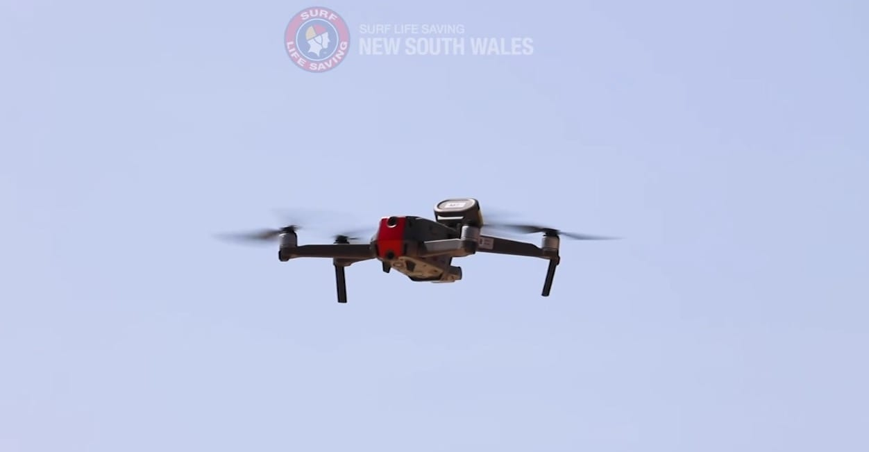 Drone with loudspeaker warns surfer of nearby white shark