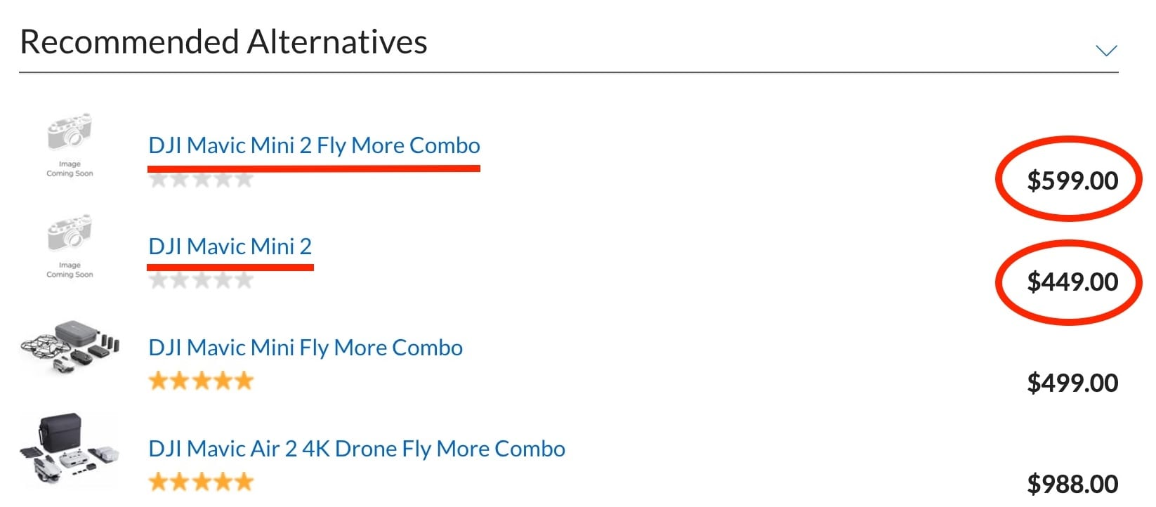 The Adorama website shows that the DJI Mavic Mini 2 will be priced at $449 and at $599 for the DJI Mavic Mini 2 Fly More Combo.