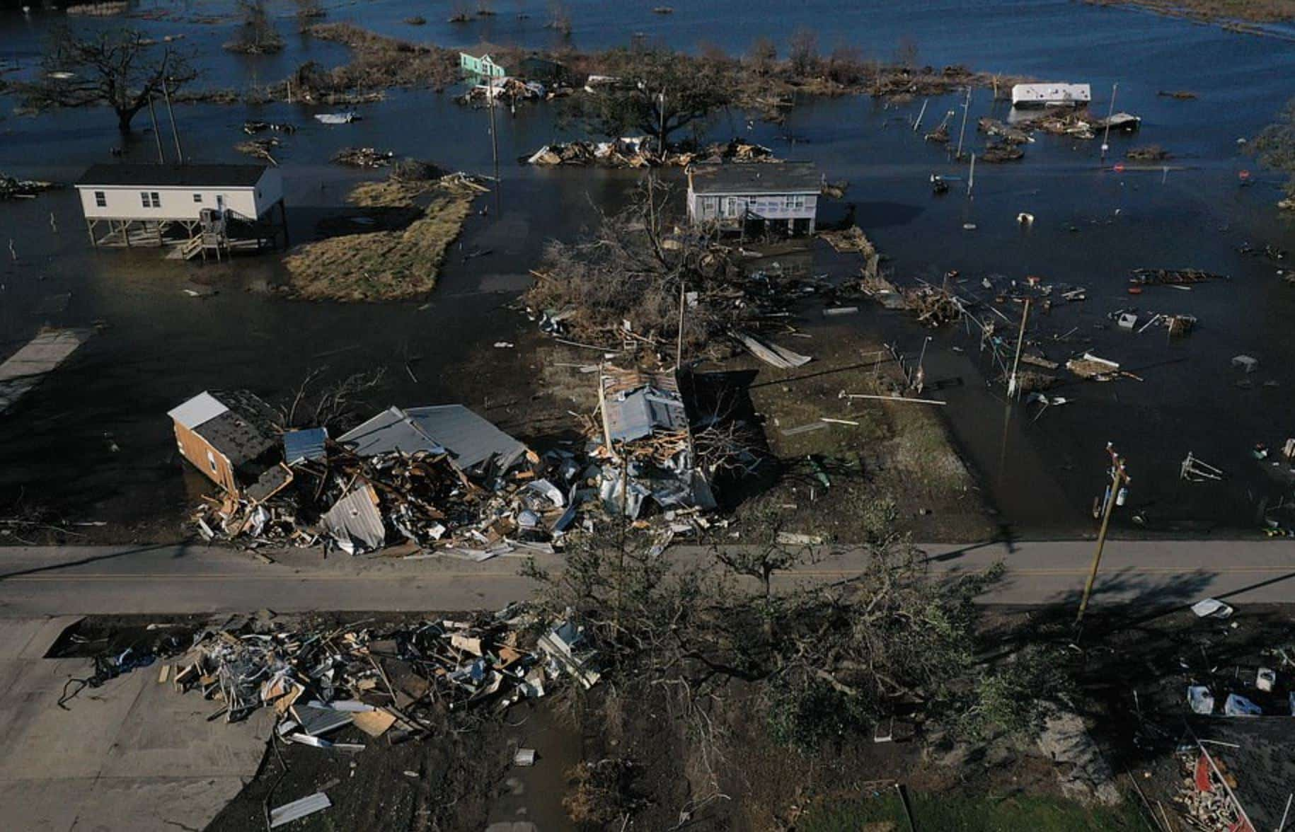 Drone footage shows devastation of hurricanes Delta and Laura