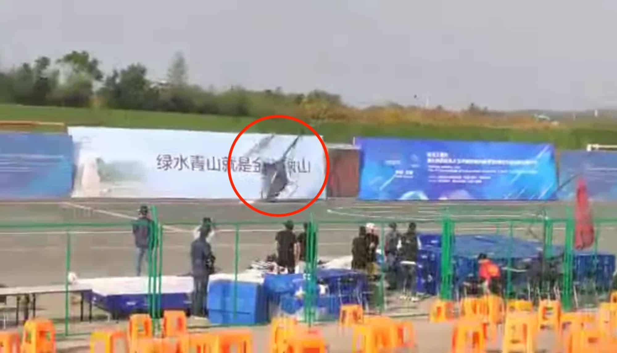 Helicopter drone crashes during airshow in China