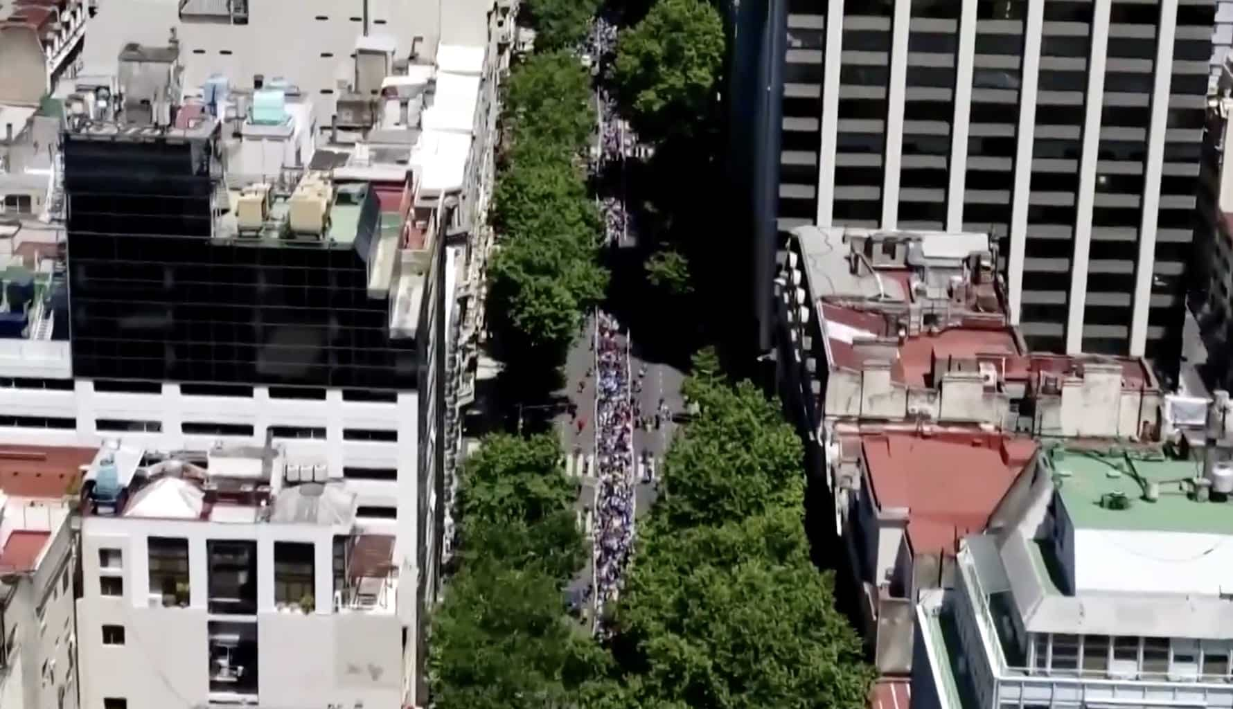 Drone video shows crowds paying respect to soccer legend Maradona