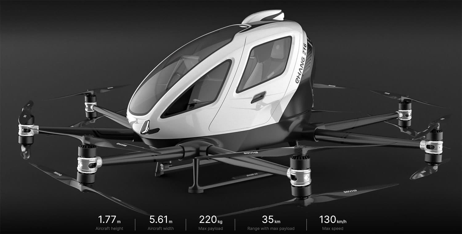 EHang demonstrates synchronous flying air taxis