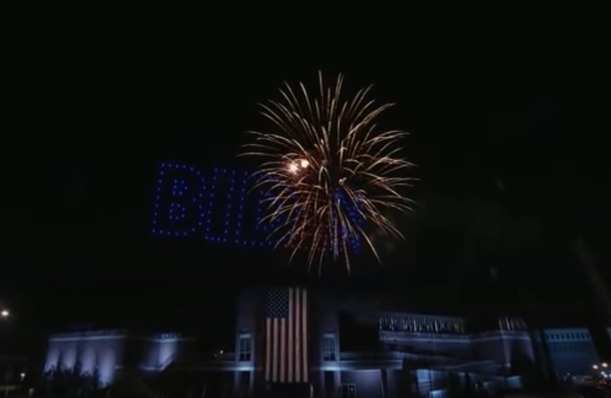 Drone light show lit up the skies after President-elect Biden victory speech
