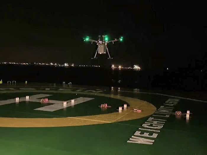 F-drones successfully completes first night drone delivery to a ship