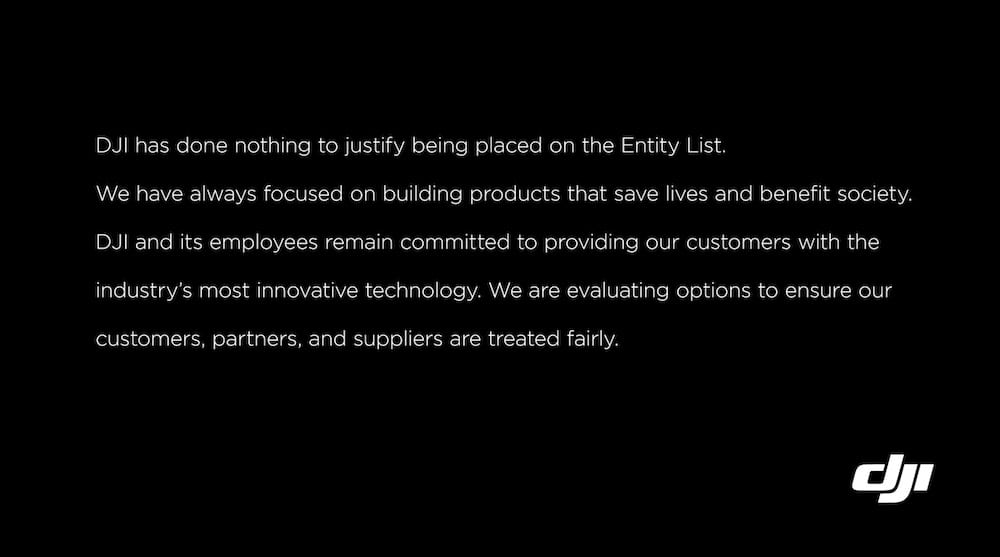 DJI's response to being placed on economic blacklist