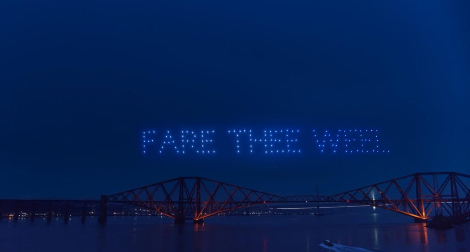 Drone light show communicates emotional message over Edinburgh
