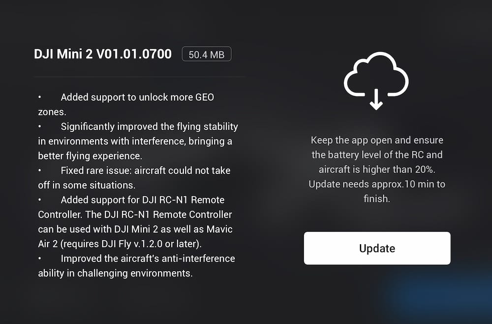 DJI Mini 2 Firmware upgrade improves stability and anti-interference capabilities
