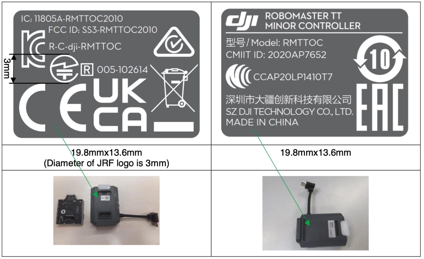 DJI Robomaster TT Minor Controller shows up in FCC filing