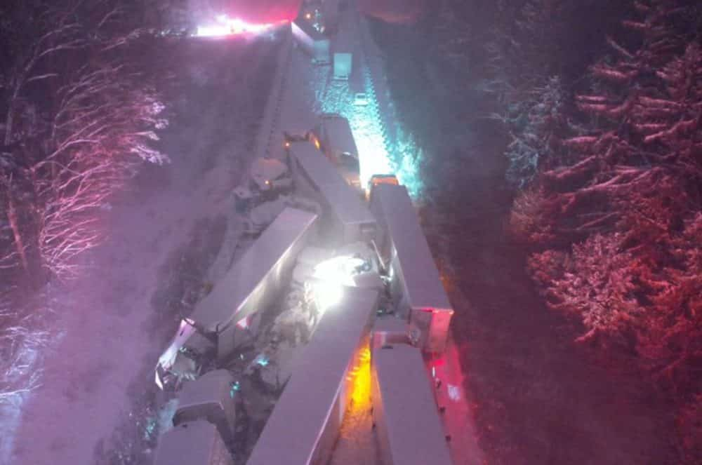 Police drone photos show aftermath of a 66-vehicle pileup during snowstorm