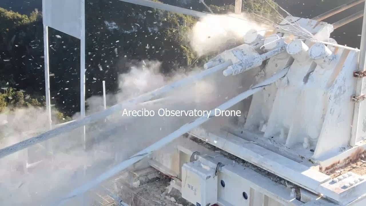 Spectacular drone footage of collapse of Arecibo Observatory