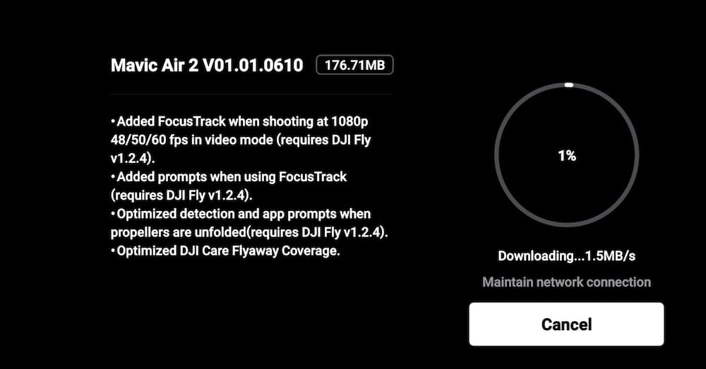 DJI Mavic Air 2 V01.01.0610 update with improved FocusTrack and more