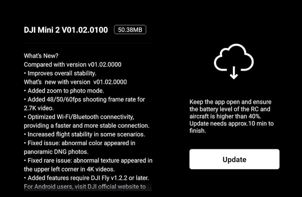 DJI Mini 2 gets significant firmware update